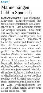 20.01.2012 – Männer singen bald in Spanisch – Annegret Riedel
