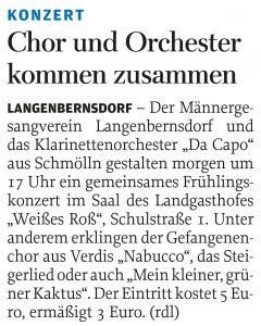 20.04.2012 – Chor und Orchester kommen zusammen – Annegret Riedel