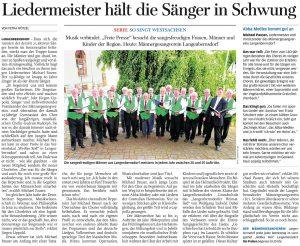 11.07.2012 – Liedermeister hält die Sänger in Schwung – Petra Wötzel