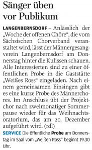 24.09.2013 – Sänger üben vor Publikum – Annegret Riedel