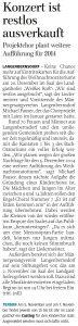 26.10.2013 – Konzert ist restlos ausverkauft – Annegret Riedel