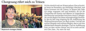 31.12.2013 – Chorgesang rührt mich zu Tränen – Annegret Riedel