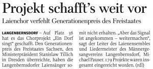 07.05.2014 – Projekt schafft's weit vor – Annegret Riedel