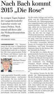 """19.09.2014 – Nach Bach kommt 2015 """"Die Rose"""" – Annegret Riedel"""