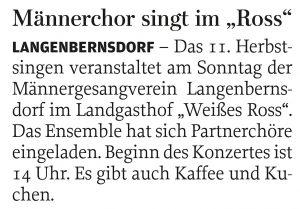 """25.09.2014 – Männerchor singt im """"Ross"""""""