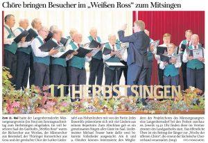 """30.09.2014 – Chöre bringen Besucher im """"Weißen Ross"""" zum Mitsingen – Thomas Michel"""