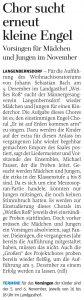 23.10.2014 – Chor sucht erneut kleine Engel – Annegret Riedel