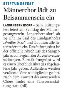 06.11.2014 – Männerchor lädt zu Beisammensein ein – Annegret Riedel