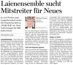 21.11.2014 – Laienensemble sucht Mitstreiter für Neues – Annegret Riedel