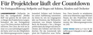 03.12.2014 – Für Projektchor läuft der Countdown – Annegret Riedel