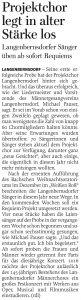 20.01.2015 – Projektchor legt in alter Stärke los – Annegret Riedel