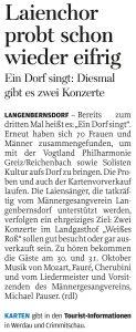 16.05.2015 – Laienchor probt schon wieder eifrig – Annegret Riedel