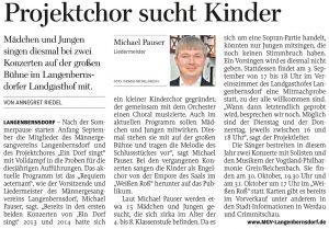 14.08.2015 – Projektchor sucht Kinder – Annegret Riedel