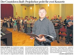 30.09.2015 – Der Countdown läuft: Projektchor probt für zwei Konzerte – Annegret Riedel