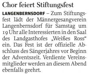 04.11.2015 – Chor feiert Stiftungsfest