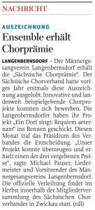 22.03.2016 – Ensemble erhält Chorprämie – Annegret Riedel
