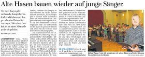 03.08.2016 – Alte Hasen bauen wieder auf junge Sänger – Annegret Riedel