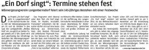 """01.10.2016 – """"Ein Dorf singt"""": Termine stehen fest – hof"""