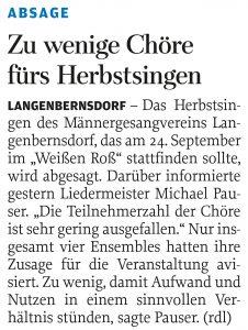 14.09.2017 – Zu wenige Chöre fürs Herbstsingen – Annegret Riedel