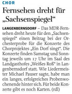 """25.10.2017 – Fernsehen dreht für """"Sachsenspiegel"""" – Annegret Riedel"""
