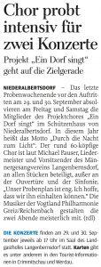 07.09.2018 – Chor probt intensiv für zwei Konzerte – Annegret Riedel
