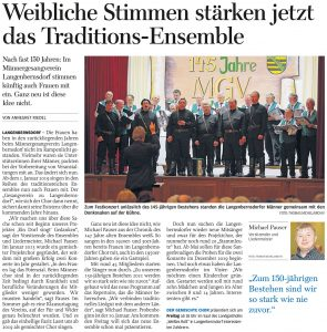 08.12.2018 – Weibliche Stimmen stärken jetzt das Traditions-Ensemble – Annegret Riedel