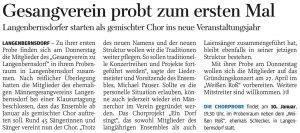 04.01.2019 – Gesangverein probt zum ersten Mal – Annegret Riedel