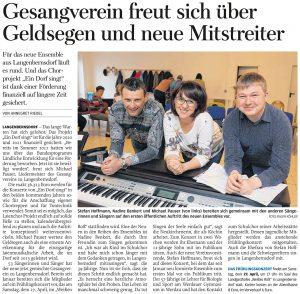 12.04.2019 – Gesangverein freut sich über Geldsegen und neue Mitstreiter – Annegret Riedel