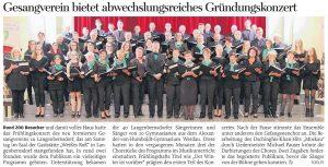 30.04.2019 – Gesangverein bietet abwechslungsreiches Gründungskonzert – Annegret Riedel