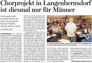 14.08.2019 – Chorprojekt in Langenbernsdorf ist diesmal nur für Männer – Annegret Riedel