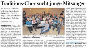 17.09.2019 - Traditions-Chor sucht junge Mitsänger - Freie Presse Werdau - Annegret Riedel