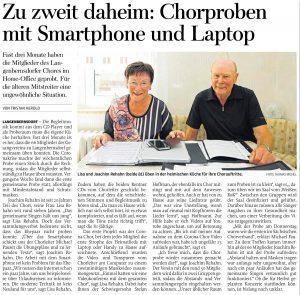 04.06.2020 - Zu zweit daheim: Chorproben mit Smartphone und Laptop - Freie Presse Werdau: Tristan Herold