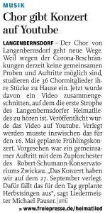 05.05.2020 - Chor gibt Konzert auf Youtube - Freie Presse Werdau: Uwe Mühlhausen