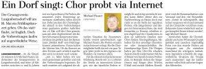 02.04.2020 - Ein Dorf singt: Chor probt via Internet - Freie Presse Werdau: Uwe Mühlhausen