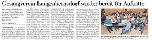 17.09.2020 - Gesangverein Langenbernsdorf wieder bereit für Auftritte - Freie Presse Werdau: Uwe Mühlhausen