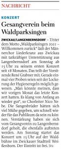 10.07.2021 - Gesangverein beim Waldparksingen - Freie Presse Werdau: kru